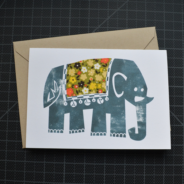 Block Print Elephant Greeting Card